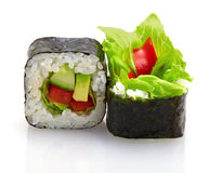 Japanese sushi with vegetables Royalty Free Stock Photo