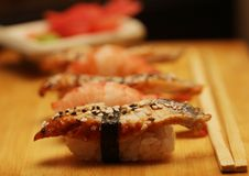 Japanese sushi on wood plate Royalty Free Stock Images