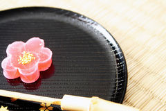 Japanese Sweet. Shape and taste like a cherry blossom (Sakura). This is a typical , tasty and very aesthetic royalty free stock photos