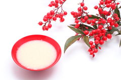 Japanese sweet mild sake. And nandina domestica stock photo