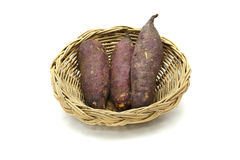 Japanese sweet potato in the basket isolated on white background Stock Image
