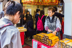 Japanese sweet shopkeeper Stock Photography
