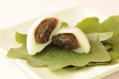 Japanese sweets. Kashiwa-mochi on the plate Stock Image