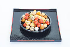 Japanese sweets beans with colored sugar coat Stock Photos