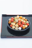 Japanese sweets beans with colored sugar coat. Mame kichi japanese sweets beans with colored sugar coat Stock Photos
