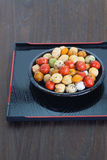 Japanese sweets beans with colored sugar coat. Mame kichi japanese sweets beans with colored sugar coat Stock Images