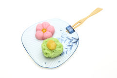 Japanese sweets on dish Stock Images