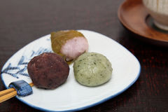 Japanese sweets on the plate Stock Photo