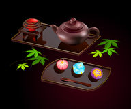 Japanese sweets and tea Stock Images