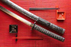 Japanese sword on a bamboo Mat Stock Photography