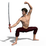 Japanese sword fencer  Stock Photography