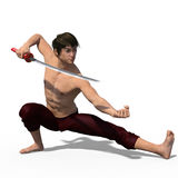 Japanese sword fencer isolated Stock Photography