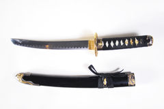 Japanese sword with a sheath. On white background Royalty Free Stock Photo