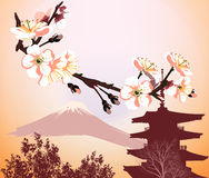 Japanese symbols with flower and mountain Royalty Free Stock Photography
