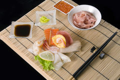 Japanese table with seafood Royalty Free Stock Photography