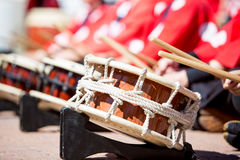 Japanese Taiko Drums Being Played Stock Photography