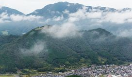 Japanese Takeda Castle and cloud. Beautiful scenery landscape at outdoor Stock Photography