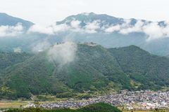 Japanese Takeda Castle on mountain. Outdoor beautiful scenery landscape Stock Photo