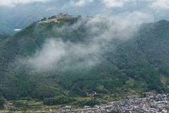 Japanese Takeda Castle and sea of cloud. Beautiful scenery landscape at outdoor Royalty Free Stock Image