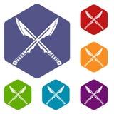 Japanese Tanto daggersicons set hexagon Royalty Free Stock Images