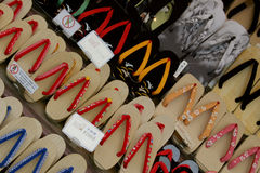 Japanese tarditional footwear. Many japanese traditional footwear. Wooden shoes Stock Images