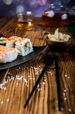 Japanese tasty sushi set Royalty Free Stock Images