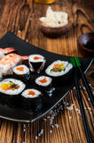 Japanese tasty sushi set Stock Image
