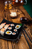 Japanese tasty sushi set Royalty Free Stock Photography