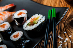 Japanese tasty sushi set Royalty Free Stock Photo