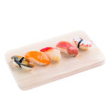 Japanese tasty sushi set. Isolated on white Royalty Free Stock Image