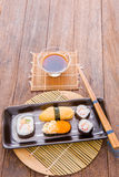 Japanese tasty sushi set Royalty Free Stock Photos