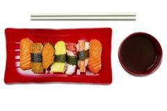 Japanese tasty sushi on white background Royalty Free Stock Photos