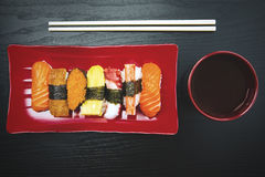 Japanese tasty sushi on the wooden table Royalty Free Stock Image