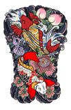 Japanese tattoo design full back body.Two koi carp fish with water splash and peony flower,cherry blossom and. Peach blossom on cloud background stock illustration