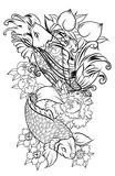Japanese tattoo design full back body.Two koi carp fish with water splash and peony flower,cherry blossom and. Peach blossom on cloud background Royalty Free Stock Photo