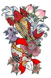 Japanese tattoo design full back body.Two koi carp fish with water splash and peony flower,cherry blossom and. Peach blossom on cloud background Royalty Free Stock Photos