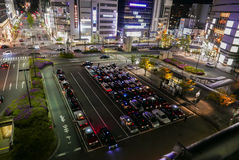 Japanese taxi terminal in Kyoto. Night view of Japanese taxis queuing in taxi terminal in Kyoto JR Railway station. Kyoto, Japan Stock Image