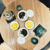 Japanese tea. ,tea pot and cups stock images