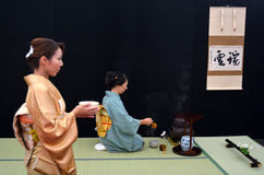 Japanese tea ceremony. AUCKLAND - APR 10 2016:Japanese tea ceremony. The Way of Tea, is a Japanese cultural activity involving the ceremonial preparation and Stock Photography