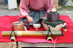 Japanese tea ceremony. In garden, close up Stock Image