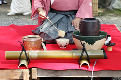 Japanese tea ceremony. In garden, close up Stock Photo