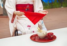 Japanese tea ceremony, Matcha green tea powder is the finest tea sort for tea ceremony. Royalty Free Stock Photos