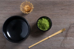 Japanese tea ceremony setting on wooden bench. Stock Photography