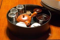 Japanese tea ceremony. Traditional Japanese Tea Ceremony.Tea set in he box.Minakami, Tone-gun ,numata & miyoshi, iruma-gun, japan stock photos