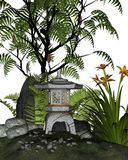 Japanese Tea Garden Corner. 3d Digitally rendered illustration of a Japanese styled tea garden corner with stone lantern (toro) and plants including ferns, sumac Stock Images