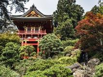 Japanese Tea Garden, Golden Gate Park, San Francisco, California, CA, USA. Buddhist Pagoda in red colour within the green zen garden. 75 Hagiwara Tea Garden stock image