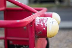 Old Playground - Red Car stock image