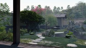 Japanese Tea Garden illustration Royalty Free Stock Image
