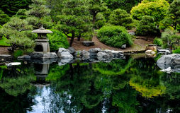 Japanese tea Garden. With reflections royalty free stock image