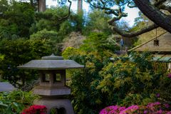 Japanese Tea Garden View in the morning. Japanese Tea Garden, Golden Gate Park, San Francisco, California: 03/23/2018 stock image
